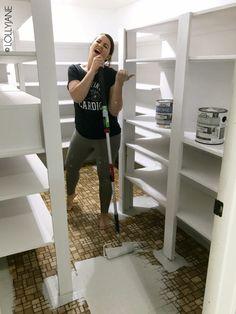 how to paint stencil floors on ANY floor type: linoleum, ceramic tile, porclain tile, vinyl, hardwood floors and more! Painted Bathroom Floors, Painted Wood Floors, Painting Tile Floors, Bathroom Flooring, Paint Linoleum, Linoleum Flooring, Redo Stairs, Plywood Subfloor, Porch Flooring