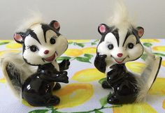 Vtg Skunk Fur Hair Figurine Set Ceramic Pair 1960's Japan Pretty Skunks 2 | eBay