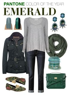 """""""Color of the Year - Emerald"""" by jamberrynails ❤ liked on Polyvore featuring Barbour, Paige Denim, American Vintage, Topshop, Accessorize, H by Hudson, DANNIJO and jamberry nails"""