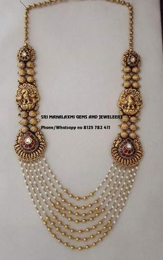 We make on customized orders also. Visit tusnfor wholesale prices phone no 8125 782 411 Pearl Necklace Designs, Jewelry Design Earrings, Gold Earrings Designs, Gold Necklace, Fashion Jewelry Necklaces, Pearl Jewelry, Schmuck Design, Making Ideas, Indian Gold Jewellery Design