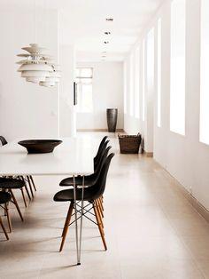 Black Eames Dining Chairs | Louis Poulsen Pendants