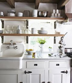 Charming Vintage Look Cabinets Featuring Open Shelving, Exterior Mounted Cabinet  Hinges And Inset Farm Sink