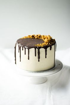 Dark chocolate cake with salted caramel buttercream, chocolate glaze and honeycomb.