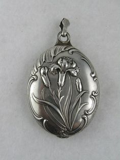 Stunning Antique French Art Nouveau 'Carnation' Silver Slide Locket, from blackwicks on Ruby Lane