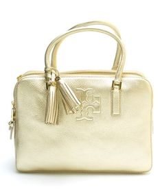 This Light Gold Thea Metallic Triple-Compartment Leather Satchel is perfect! #zulilyfinds