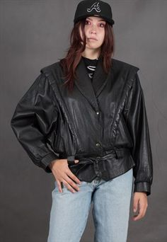 Buy & sell new, pre-owned & vintage fashion Leather Jacket Outfits, Vintage Leather Jacket, Vintage Outfits, Vintage Fashion, Vintage Grunge, Batwing Sleeve, Bat Wings, Jackets For Women, Black Leather