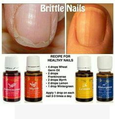 Brittle nails and essential oils: 2 drops Frankincense, 2 drops Myrrh, 2 drops Lemon and 1 drop Wintergreen. Combine with 4 drops wheat germ oil. I wonder if I can use Almond oil instead of wheat germ oil? Apply 1 drop of mixture on each nail 2-3 times daily.