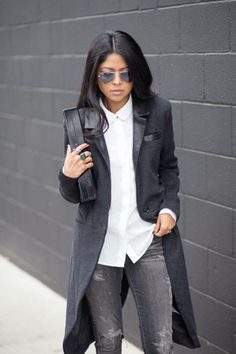 {STYLE INSPIRATION} Absolutely love this look... Long coat + White buttoned up shirt + Grey distressed jeans. Cute for Casual Friday and then after work drinks xx