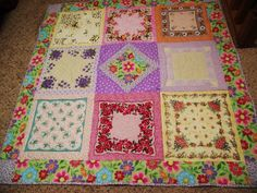 Antique handkerchief quilt - Cool DYI crafts idea for vintage floral handkerchiefs - look for wonderful antique hankies on Ruby Lane