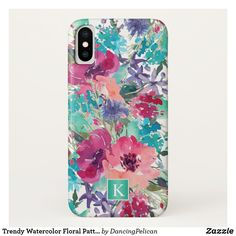 fe5b6ec648 Trendy Watercolor Floral Pattern with Monogram iPhone X Case - Colorful and  girly, this iPhone