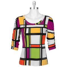 Erin London Color Block Ruched Top