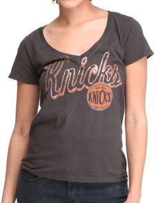 Junk Food Women Black Knicks V-Neck Tee