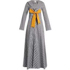 Rosie Assoulin Seeker detachable-bow gingham coat (61,970 PHP) ❤ liked on Polyvore featuring outerwear, coats, navy white, slim fit coat, bow coat, rosie assoulin and slim coat