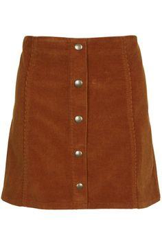Topshop Cord Button Front A-Line Skirt A-line skirt in velvet cord finish with popper front detail. Length - 40cm. 99% Cotton, 1% Elastane. Machine wash.  Colour:  TAN Item code:  27E18HTAN