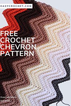 Chevron Crochet Blanket Pattern, Crochet Ripple Afghan, Crochet Mat, Afghan Crochet Patterns, Crochet Blocks, Crochet Shawl, Chevron Blanket, Crocheted Afghans, Crochet Cushions
