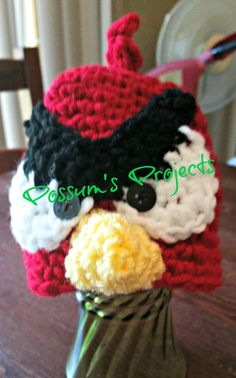 Mad Red Bird Hat by PossumsPatternsnStuf on Etsy