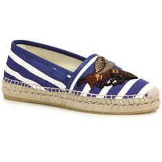 Gucci Pilar Embroidered Stripe Espadrille Flats (7,270 MXN) ❤ liked on Polyvore featuring shoes, flats, apparel & accessories, multi, flat shoes, rubber sole shoes, striped espadrille flats, gucci shoes and embroidered shoes