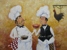 Soup Chefs Art Print, fat chef wall art chef art kitchen art chef paintings two…