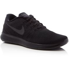 Nike Free Rn Lace Up Sneakers ($110) ❤ liked on Polyvore featuring men's fashion, men's shoes, men's sneakers, black, mens black sneakers, mens black shoes, nike mens shoes, mens lace up shoes and nike mens sneakers