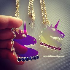 UNICORN RADIANT head laser cut acrylic necklace by didepux on Etsy, €15.00