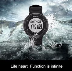 WATERPROOF FUNCTION: 164 ft waterproof (50 M) - 5ATM. In general, suitable for swimming and snorkeling, but not for diving. NOTE: please DO NOT press any buttons in the water SPORT DESIGN: Real-time Heart rate monitoring can provide more protection for your sports and health.