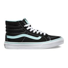 SK8-Hi Slim found on Polyvore featuring polyvore, fashion, shoes, sneakers, canvas high tops, canvas lace up shoes, lacing sneakers, hi tops and vans high tops