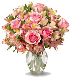 A bright and cheerful bouquet featuring 12  pink roses with six pink alstromeria stems. This 18-stem assortment is sure to brighten up any room. http://regalomanila.com/