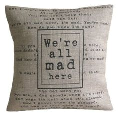 'We're All Mad Here' Alice in Wonderland Cushion - Linen or Hessian, Handmade in UK (Linen Front / Cotton Back): Amazon.co.uk: Kitchen & Hom...