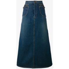 Saint Laurent Saint Laurent A-Line Denim Skirt (17.140 ARS) ❤ liked on Polyvore featuring skirts, blue, button-front denim skirts, denim skirt, knee length denim skirt, blue skirt and button front a line skirt
