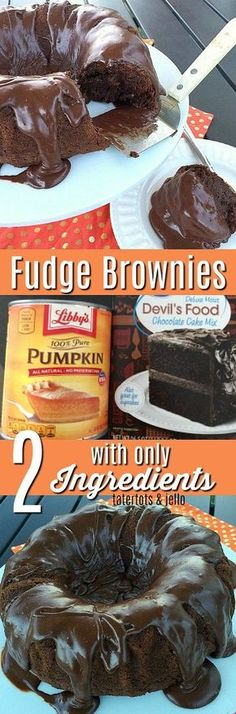 gooey fudge brownies with only 2 ingredients