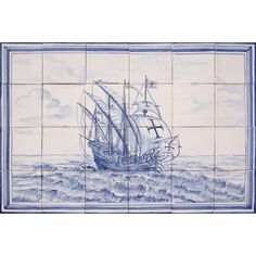 Portuguese Majolica Nautical Vessel Caravel Tiles Panel