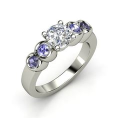 Round Diamond Palladium Ring with Tanzanite
