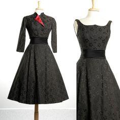 SALE Vintage 50s Fit and Flare Black Floral Brocade Party Dress Great Neckline Jacket Set Formal