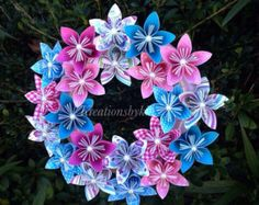 Fairy Tale Origami Paper Flower Wreath / Wedding/ Birthday/
