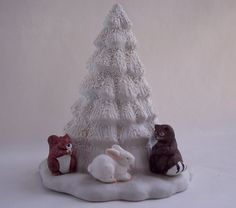 Vintage White Light up Christmas Tree by TheButterfliesGarden #Christmas #tree #Christmas2016 #animals #bunny #lights #lightup #giftforher #gifts #white #ceramic #vintage