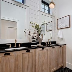 In this boys bathroom, texture comes from the shiplap, black hex tile floors, and custom white oak cabinets. Quartz Bathroom Countertops, Black Quartz Countertops, Oak Bathroom Cabinets, Black Kitchen Countertops, Black Granite, Oak Cabinets, Staining Cabinets, White Shiplap, Black Kitchens
