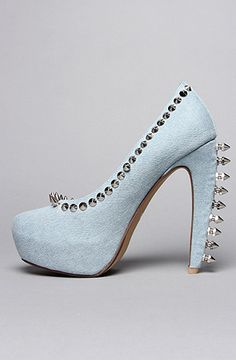 Jeffrey Campbell The Spike Madame Shoe in Denim and Silver : Karmaloop.com - Global Concrete Culture
