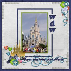 Disney scrapbook layout, cinderella castle