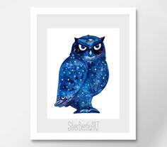 Owl Watercolor Print Owl Wall Nursery Art Bird от SilverBeetleArt