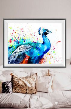 Peacock watercolor painting print Peacock art animal by SlaviART