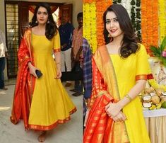 Wedding Guest Look You Can Copy From Raashi Khanna is part of Dress salwar kameez - Give a break to your sarees Salwar Designs, Kurta Designs Women, Kurti Designs Party Wear, Dress Designs, Designer Party Wear Dresses, Indian Designer Outfits, Designer Wear, Anarkali Patterns, Glamouröse Outfits
