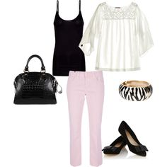 how to wear pink pants, created by cutenfun on Polyvore