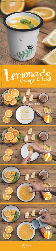 Summer is going to end soon, too soon for us, unfortunately. Let's celebrate last few warm days!   Orange Lemonade 1 ½ cups fresh orange juice  1/3 cup fresh lemon juice  2 cups water 6 ice cubes 2 sprigs fresh basil
