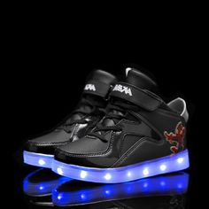 Black Kids Cartoon LED Light Up Shoes