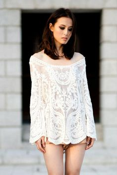 #Cream #Crochet #Tunic by: Goodnight Macaroon @Goodnight Macaroon crochet tunic  http://rstyle.me/~2qiLi