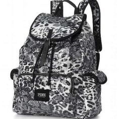 Victoria's Secret PINK Snow Leopard Animal Sequin Bling Backpack Bookbag NEW | eBay
