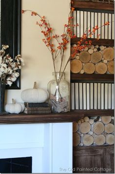 I want to take the doors off my fireplace and put logs in it like this. fall home tour 0093