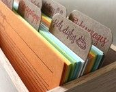Letterpress Recipe Cards--Cards and Dividers Only. $29.00, via Etsy.
