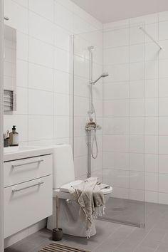 White Tile Shower, White Bathroom Tiles, Attic Bathroom, Bathroom Renos, Bathroom Inspo, White Tiles, Bathroom Inspiration, Small Bathroom, Br House