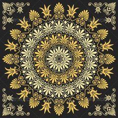 Vector Floral Gold Greek Ornament